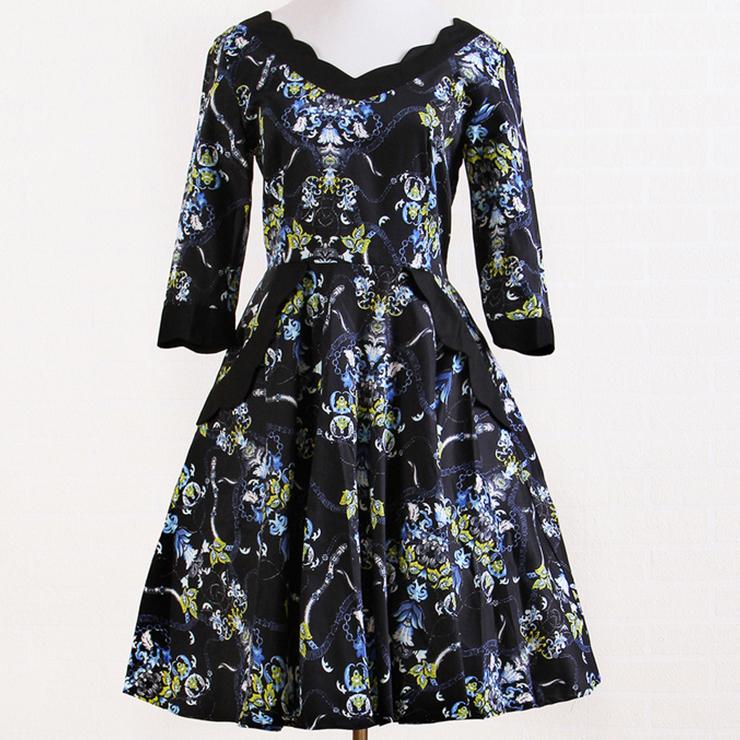 Gothic Vintage Floral Print Prom Dress N11934