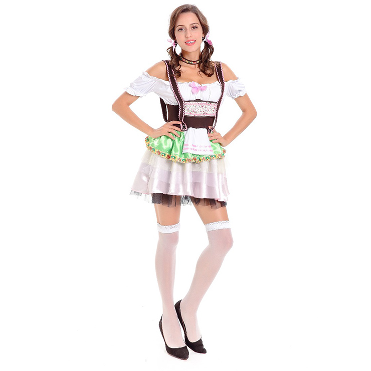 German Beer Beauty Costume, Oktoberfest Costume for Girl, Beer Girl Costume, Cow Girl Costume, Deluxe Bavarian Womens Costume, #N14756