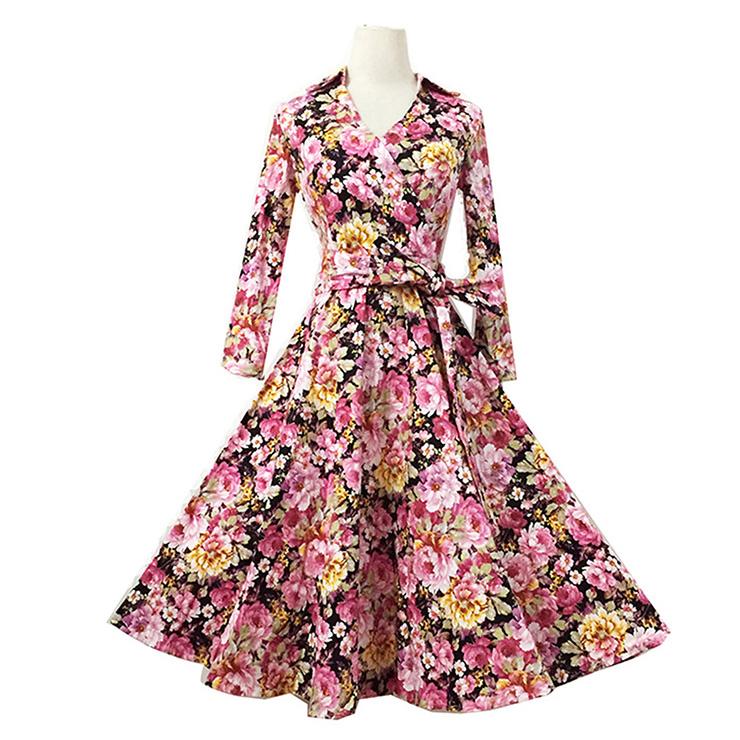 1950's Vintage Floral Print Half Sleeve Casual Swing Dress N11548