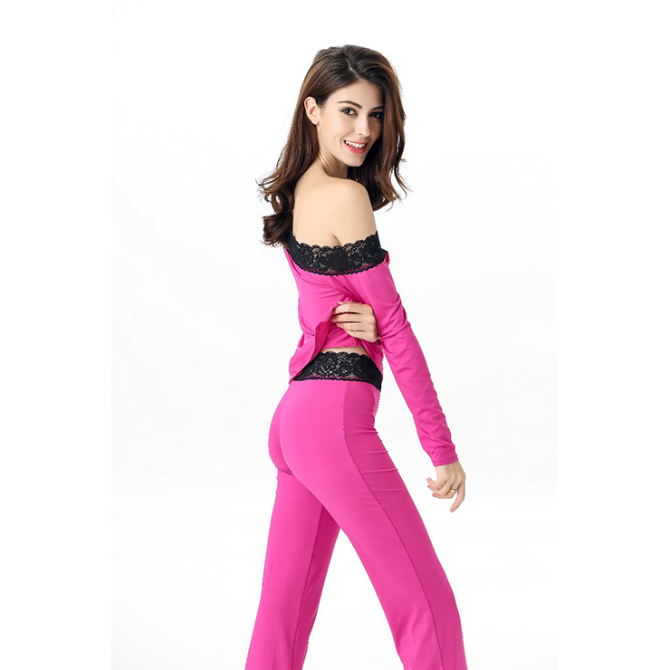 1c9832ff396 Women s Loose Fit Lace Trimmed Sleepwear Pant Pajamas Set NightWear ...