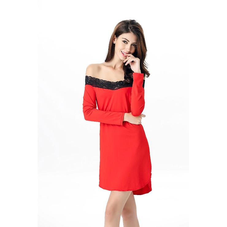 6fcc56eb30 Women s Loose Fit Lace Trimmed Sleep Tunic Nightwear Sleepwear Sleep Shirt  Lingerie N11628