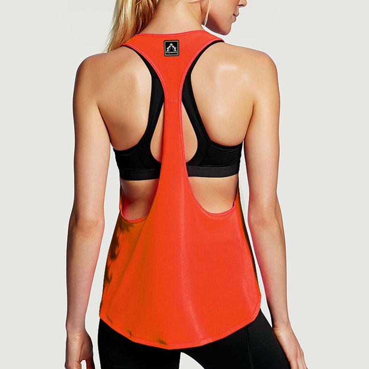 b14425008997df Women s Orange Workout Sport Gym Yoga Tank Top N10979