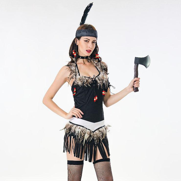 Womens Sexy Tribal Chieftain Costume Adult Exotic Cosplay Dress N17944