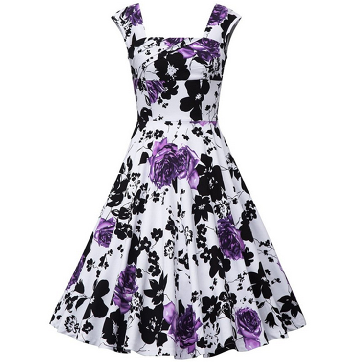 008a43c12fe59 Vintage Square Neck Sleeveless Floral Print Dress For Women N11397