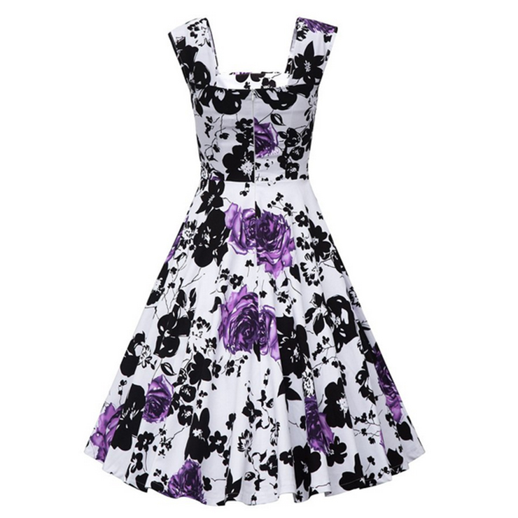 b0fdb2cd8a7ba Vintage Square Neck Sleeveless Floral Print Dress For Women N11397