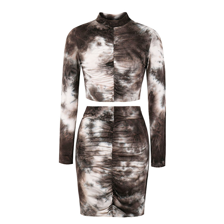 Sexy Pleated Grey Tie-dye Gradient Print Long Sleeve Tops With Mini Package Hip Skirt Sets N20634
