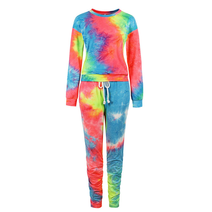 Fashion Red Tie-dye Gradient Print Long Sleeve Tops With Drawstring Tight Pants Sets N20791