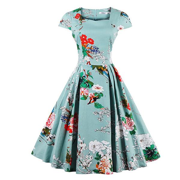 1950's  Vintage Blue Floral Print Casual Swing Dress N11669