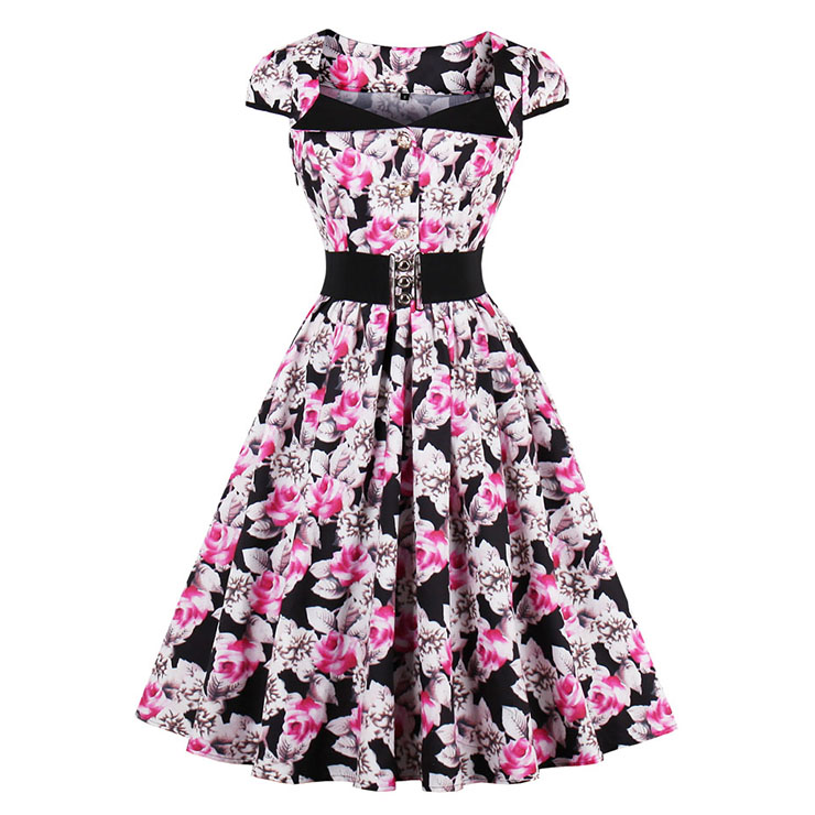 Women's Vintage Cap Sleeve Flower Print Casual Swing Dress N14472