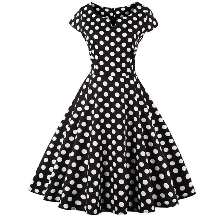 1950's  Vintage Polka Dot Casual Swing Dress N11885