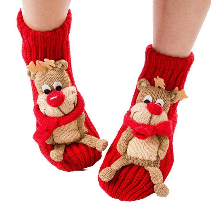 Adult 3D Cartoon Animal Household Floor Woolen Knitted Christmas Socks HG12113