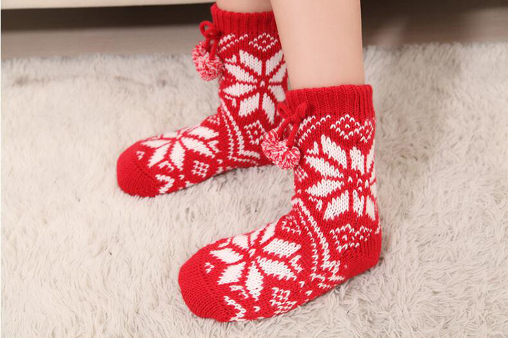 Woolen Knitted Socks, Household Socks, Comfortable Socks, Thick Stockings, Winter Socks, Slipper Socks, Christmas Stocking, #HG12119