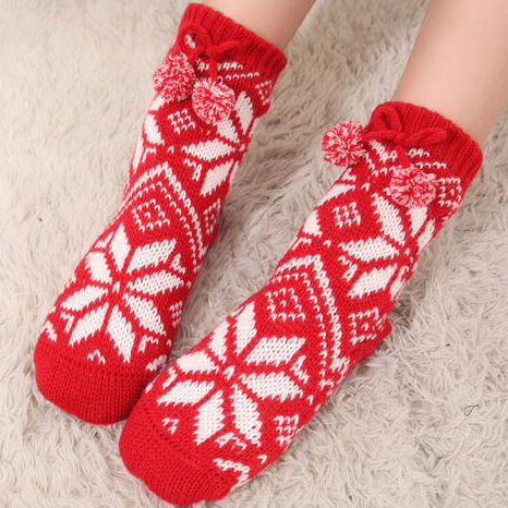 Adult Snowflake Fleece Lining Knit Christmas Stockings Slipper Socks  HG12119