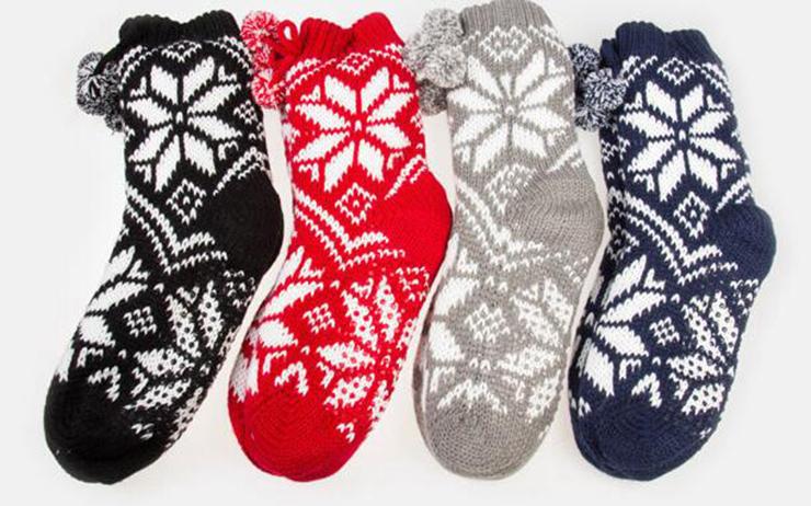 Woolen Knitted Socks, Household Socks, Comfortable Socks, Thick Stockings, Winter Socks, Slipper Socks, Christmas Stocking, #HG12121