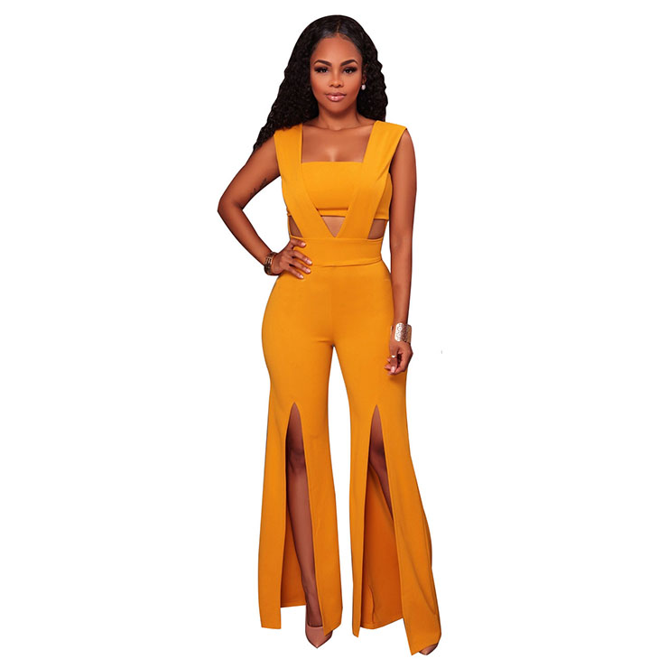 Women's Sexy Yellow Bandeau Patchwork Wide Leg Split One Piece Jumpsuit N16309