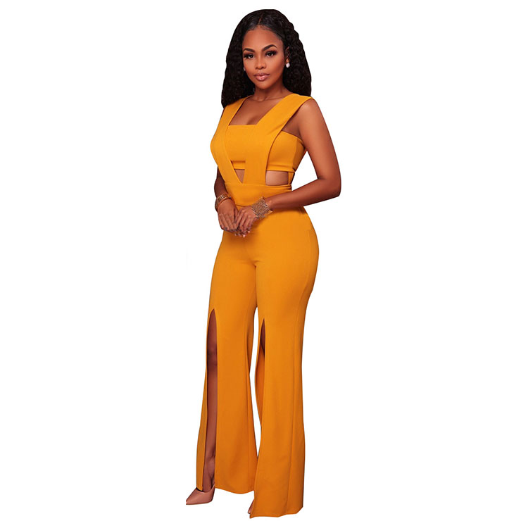 Sexy Sleeveless Strapless Jumpsuit, Yellow Slim Fit Bellbottoms Jumpsuit, Bodycon Split Jumpsuit, Sleeveless High Waist Jumpsuit, Fashion Bandeau Patchwork Jumpsuit for Women, #N16309
