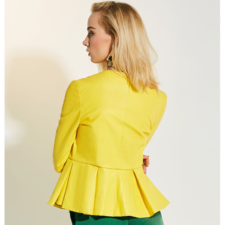 Round Neck Casual Blouse, Fashion Blouse for Women, Long Sleeve Blouse, Simple Style Blouse, Yellow Casual Blouse, Sexy Fashion Blouses, #N15772