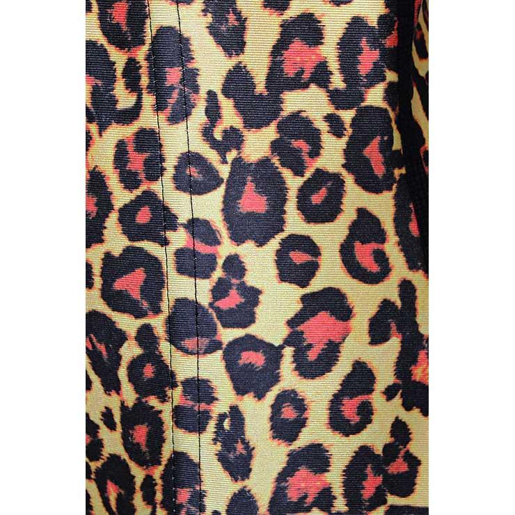 Yellow Steel Bone Underbust Corset, Latex Corset, Sexy Leopard Patterns Underbust Corset, Cheap Women