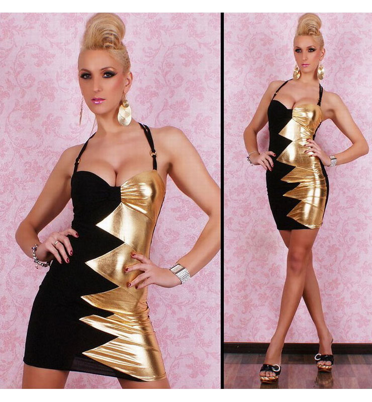 Zig Zag Black And Gold Mini Dress N8566