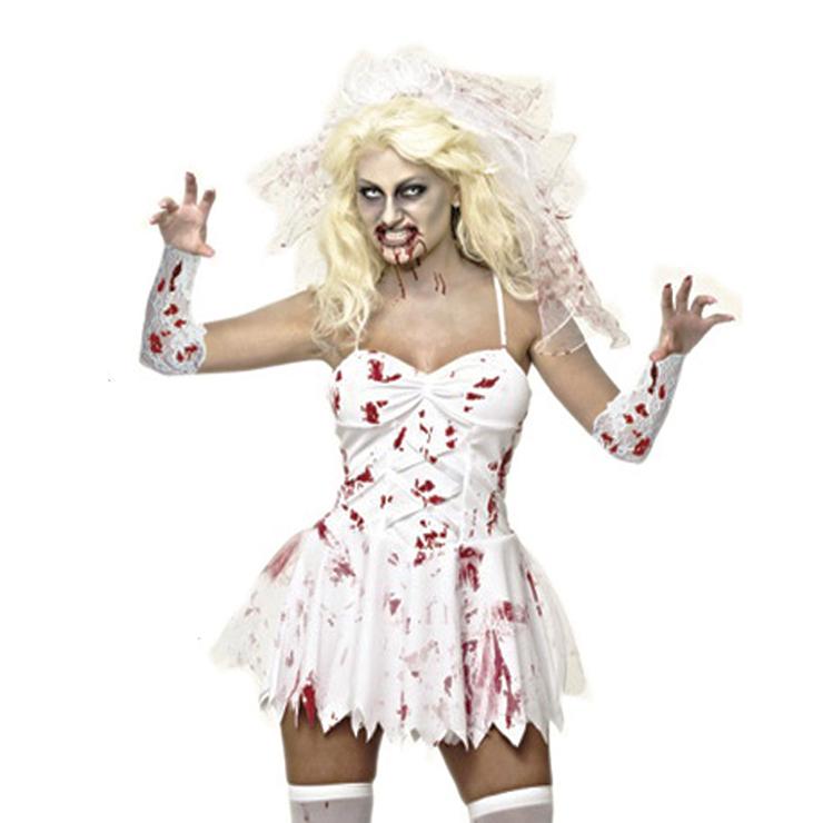 Bloody Zombie Bride Dress Bride Costume N11801