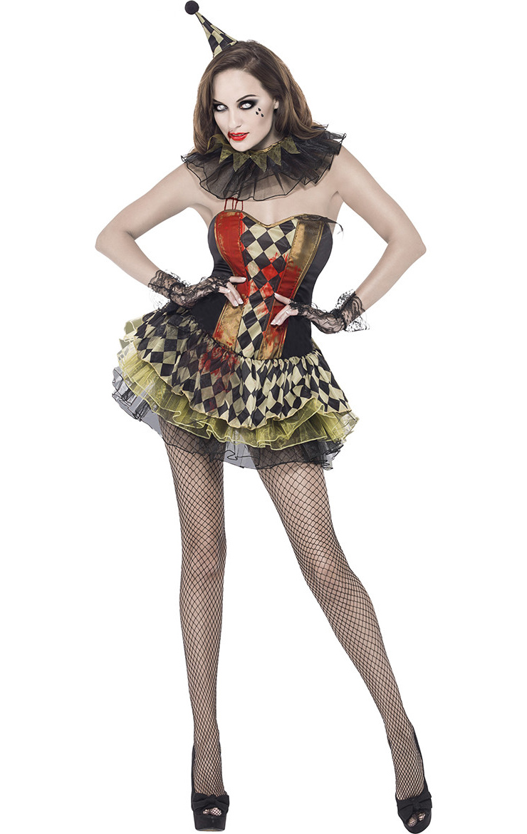 zombie circus clown costume n8615. Black Bedroom Furniture Sets. Home Design Ideas