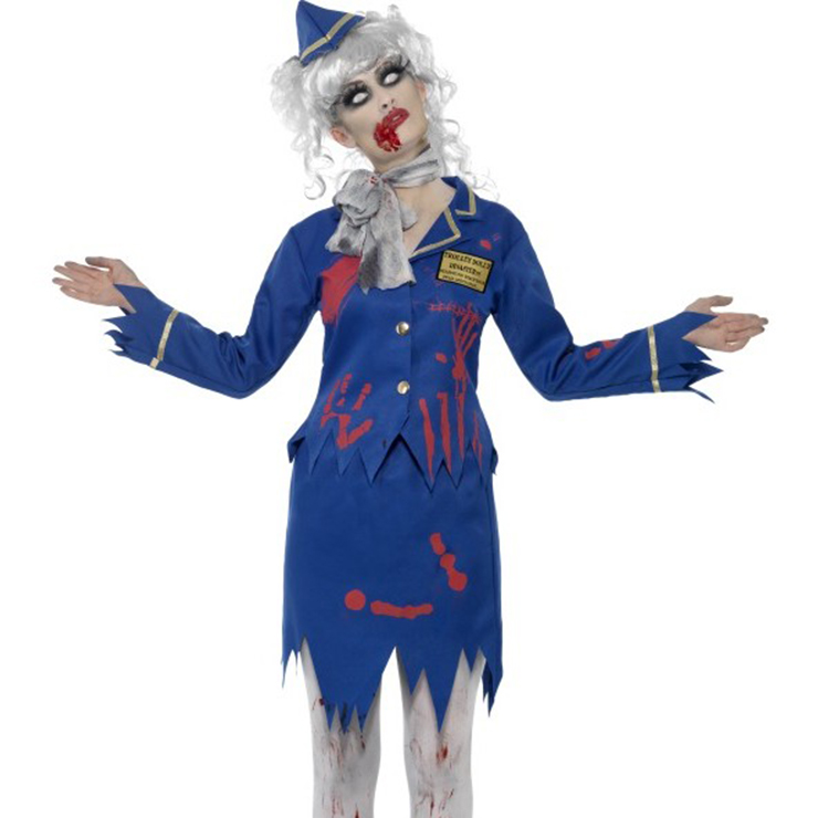 Creepy Zombie Air Hostess Stewardess Gory Dead Halloween Costume ...