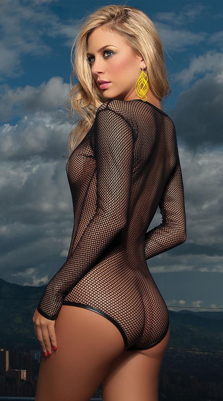 Net Long Sleeve Bodysuit, Fishnet Teddy, Long Sleeve Net Teddy, #N1276