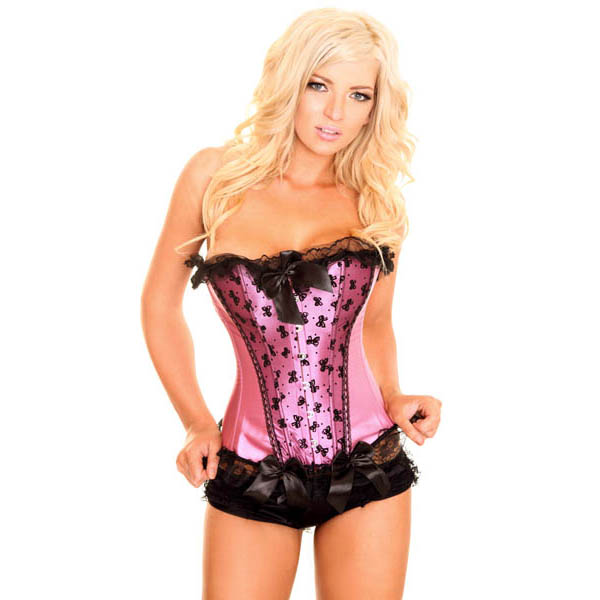 Sexy Pink Satin Floral Lace Trim and Bowknot Bustier Overbust Corset N2571