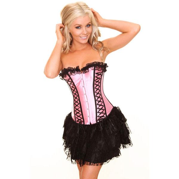 pink corset& black mini Skirt N6149