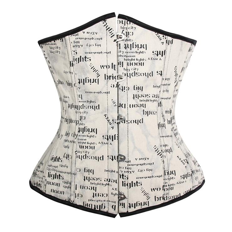 print word underbust corset N4506