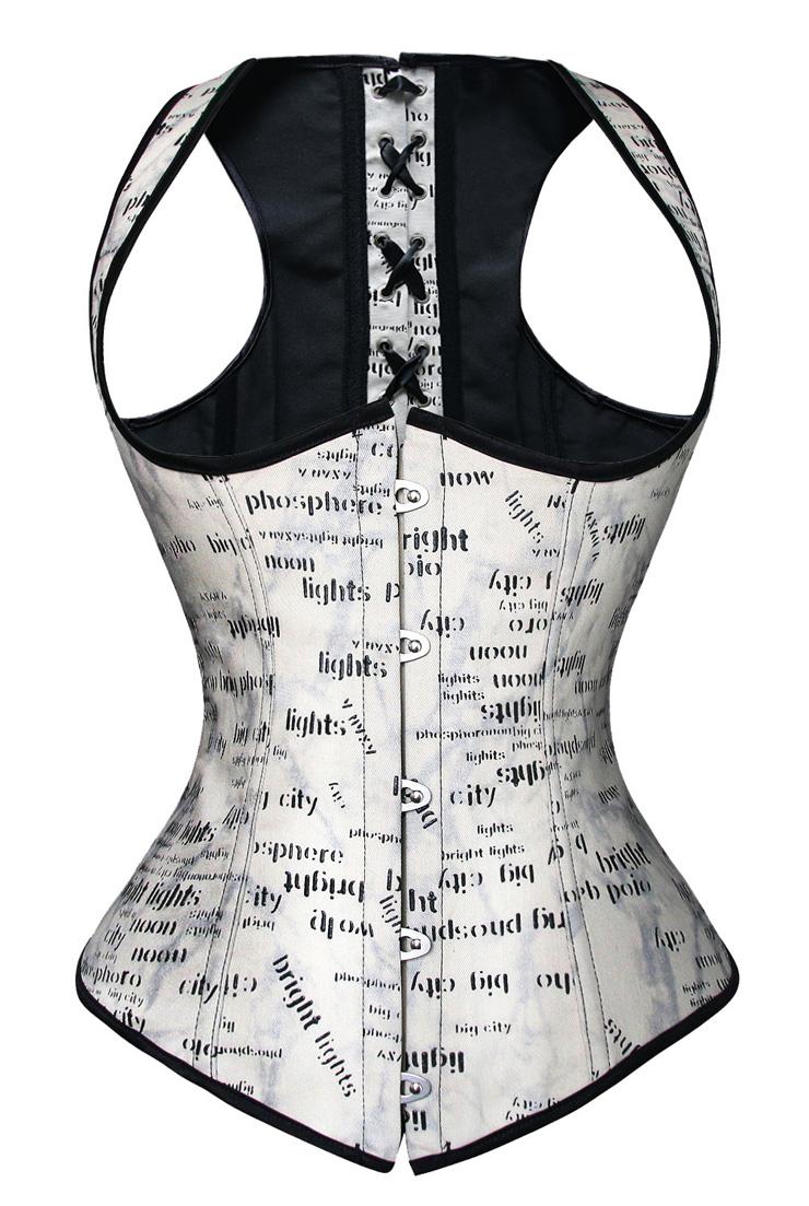 print word underbust corset, print underbust corset, Sexy print word underbust corset, #N4507