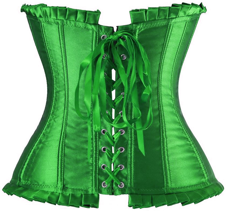 satin Corset, Sexy Corset, green Corset, #CB6095