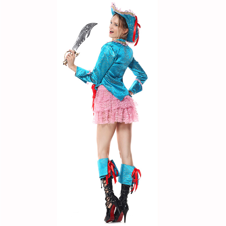 Piratess Costume, Sexy Pirate Captain Costume, Passion Pirate Costume, Blue Sequins Color Pirate Costume, Adult Pantomine Pirate Costume,Pink Lace Skirt Prate Costume#P1521