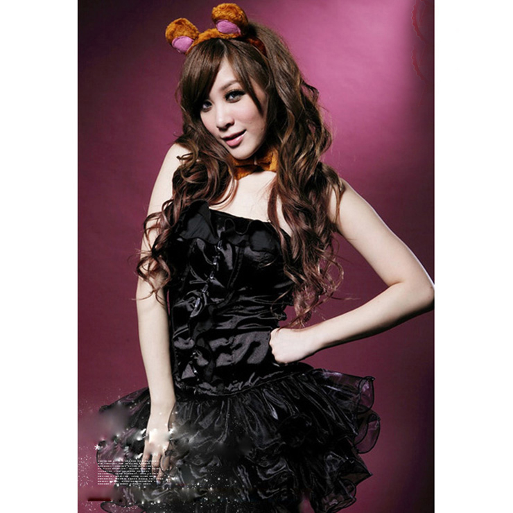 Sexy Black Cuddly Cat Bustier and Tutu Skirt Costume M1004