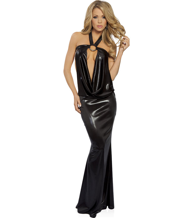 Low Back Halter O-Ring Gown N1534