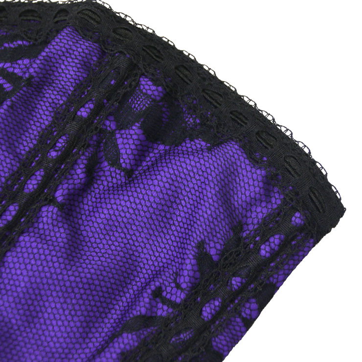 Sexy Bustier Corsets, China Sexy Corsets, Lingerie Corsets, Gothic Purple Satin Floral Lace Bustier Corset, Romantic Purple Satin Overbust Corset, #M4221