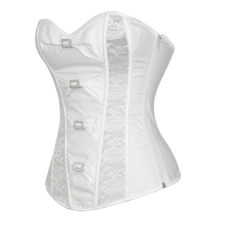 Beige Satin & Lace Bow Corset, Satin & Lace Corset, Beige Overbust Corset, White Bride Bustier Overbust Corset, Floral Lace Bowknot Corset, #N5546
